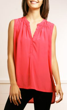 Rebecca Taylor Silk Henley in Watermelon