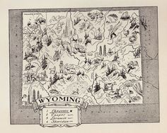 Vintage WYOMING Map Cowboy Bee Keeping Oil Rigs FUN Whimsical 50s Map BW 2302