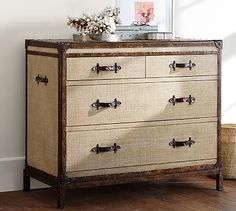 Redford Trunk Dresser #potterybarn, metal edging held with brass tacks, covered in tea-stained natural burlap. Replicable