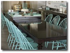 Stained table, painted chairs - this is the inspiration for my duck egg blue dining chairs currently in the works.