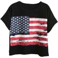Chicnova Fashion American Flag Print Loose T-shirt (63 BRL) ❤ liked on Polyvore featuring tops, t-shirts, shirts, crop tops, blusas, loose shirt, american flag tee, roll sleeve t shirt, crop tee and t shirt