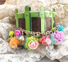 spring leather bracelet charm cuff secret garden by lilyofthevally