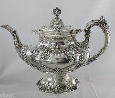 FRANCIS-I-by-Reed-and-Barton-Sterling-Silver-6-PC-TEA-SEt-W-LARGE-TRAY-No-Mon