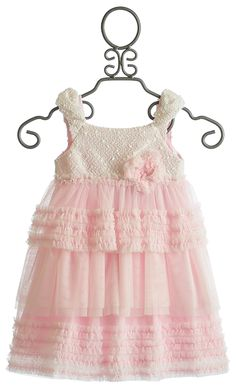 Isobella and Chloe Little Girls Cap Sleeve Pink Party Dress