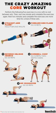 The Crazy Amazing Core Workout ~ These 5 Moves Will Make You Look Flat-Bellied from Every Angle - Women's Health Magazine Ab Workout At Home, At Home Workouts, Core Workouts, Fitness Exercises, Bodyweight Ab Workout, Workout Routines, Killer Ab Workouts, Cardio Hiit, Effective Ab Workouts