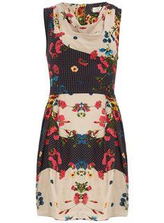 Multi print tie back dress