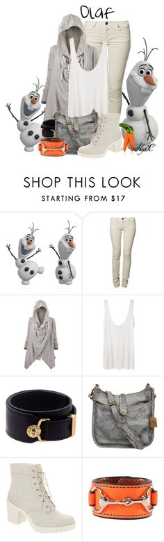 Olaf - Disney's Frozen by rubytyra on Polyvore featuring мода, The Row, CIMARRON, Frye, Rebecca Ray Designs, Versus and battleofthedisneyfashions