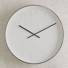 Oversized Modern White U0026 Black Wall Clock | Mr. White Wall Clock | West Elm