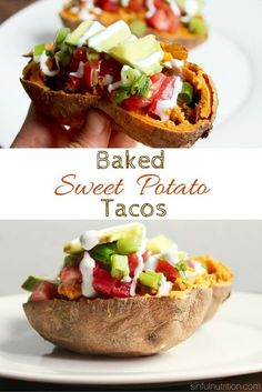Baked Sweet Potato Tacos -- A healthy dinner recipe that uses sweet potato skins as the taco shell! High in fiber and Protein!   Vegan & Gluten free