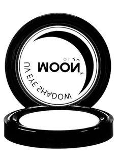 Sombra de ojos blanco UV 3.5 g Moonglow©: Esta sombra de ojos es de color blanco de la marca Moonglow©. Es especial ya que brilla cuando se expone a la luz negra UV.El envase mide 5 cm de diámetro, es redondo y contiene 3.5...