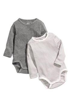 1b4fb608ad34b 2-pack Long-sleeved Bodysuits - Dark grey Striped - Kids