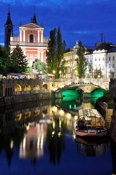 Reflections in the night, Ljubljana, Slovenia