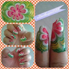 Watermelon Water Marble  Inspired by My Simple Little Pleasure in YouTube. It part of Fruit by the Finger Series. The nail polish I use are  Basecoat: Jordana  414 Garlic Growth Basecoat 090 White  Water Marble Color: China Glaze 77031 Outta Bounds Kleancolor Nail Lacques 12 Melon Green (repeat as often as you want until you are satisfied and put in the white) Jordana: 090 White 344 Red Silk 974 Tender Coral You can repeat the red I only did it twice  Seeds: Jordana 089 Black
