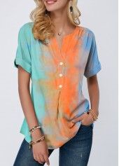 Split Neck Button Detail Tie Dye Print T Shirt Women Clothes For Cheap, Collections, Styles Perfectly Fit You, Never Miss It! Stylish Tops For Girls, Trendy Tops For Women, Tie Dye, Tie And Dye, One Piece Swimwear, Short, Colorful Shirts, Ideias Fashion, Casual