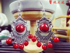 Tibetan Silver Tassel Royal Vintage Earring National trend earrings accessories tibetan silver tassel women's royal vintage long design earrings drop.