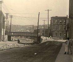 Cincinnati, after the Miami & Erie Canal was drained, revealing decades of trash.