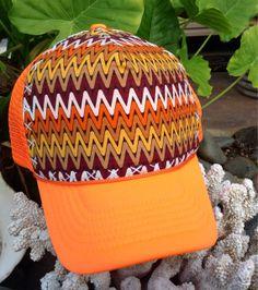 Trucker Hat Neon Orange w/hand stitched vintage by AumoanaDesigns, $20.00