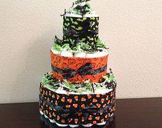 READY TO SHIP 3 Tier Halloween Diaper Cake by BabeeCakesBoutique