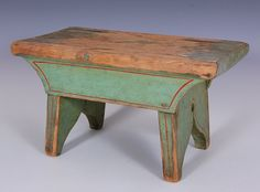 Lot: 19TH C. PAINTED CRICKET STOOL, GREEN WITH RED STRIPING, Lot Number: 0080, Starting Bid: $35, Auctioneer: Dirk Soulis Auctions, Auction: The George and Betty Allen Estate Auction, Date: June 6th, 2014