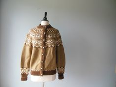 Fair Isle Cardigan // 60s Fair Isle Sweater // by RockThatFrock, $65.00