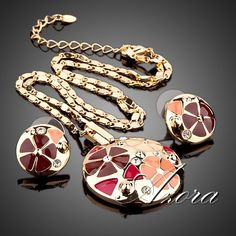 AZORA 18K Real Gold Plated Multicolour Flower Design Stud Earrings and Pendant Necklace Jewelry Sets TG0004-in Pendant Necklaces from Jewelry on Aliexpress.com | Alibaba Group