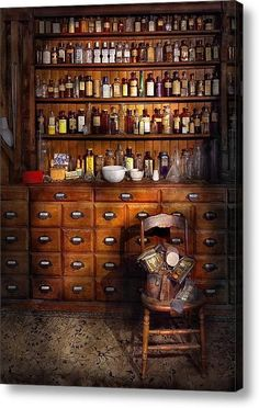 - Just The Usual Selection Acrylic Print by Mike Savad Cabinetry/drawers + apothecary bottles. Apothecary Decor, Apothecary Cabinet, Apothecary Bottles, Jars Decor, Rustic Furniture, Furniture Decor, Curiosity Cabinet, Witch Room, Diy Home Decor