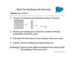 5.NBT.7 Base 10 Buildings with Decimals