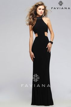 If drama is what you're after, this may be the dress for you. It starts with a square cutout waist and long jersey skirt and only gets better as you go around to the strappy back. Then the whole thing