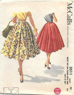 McCalls 3511 Sewing Pattern - Misses Soft Box Pleated Circle Skirt Size - Misses Waist - 28 Hip - 38 Copyright - 1955 Pattern Pieces - 3