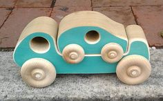 Wooden Toy Truck with nesting Wood Car by uswoodtoys on Etsy, $20.00