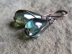 Green Czech Glass Teardrop and Copper by valleybeadglassart, $14.00