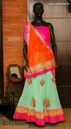 Georget gota lehengas by Arainafabs Saree Dress, Sari, Lehenga Designs Latest, New Designer Dresses, Fashion Wear, Kurtis, Indian Outfits, Indian Fashion, Blouse Designs