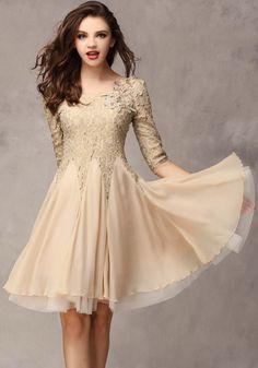 Khaki Plain Seven's Sleeve Ankle Wrap Lace Dress..kinda like the design..but i'll made it up a maxi dress