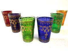 Moroccan 6 piecesTea Multicolor & Gold  Glasses Set Artisan Glass Cup Shot  Wine #Moroccan