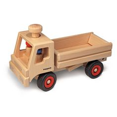 This Wooden Toy Dump Truck, made in Germany by Fagus, is a must-have for construction play! The working bed of the truck can be raised to dump its load, and then lowered to be filled up again. A chunk