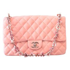 "Chanel - Chanel Valentine Heart Chain Pink Quilted Leather 10"" Flap Bag found on Polyvore"