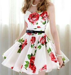 Belted Rosy Dress in White - Thumbnail 1 Cute Summer Dresses, Pretty Dresses, Beautiful Dresses, Gorgeous Dress, Dress Summer, Super Cute Dresses, Summer Shoes, Grad Dresses, Casual Dresses