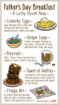 A Fathers Day breakfast menu created by young kids wouldn't exactly be fine cuisine. Haha!