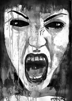 anger by Loui Jover Anger Drawing, Anger Art, Art Sketches, Art Drawings, Pencil Drawings, Advanced Higher Art, Art Du Croquis, Drawing Expressions, Rage Meme