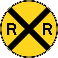 Railroad Crossing Sign Clip Art | Highway-Rail Grade Crossing Advance Warning, Color