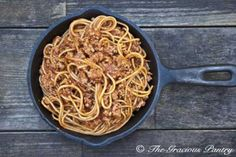 Clean Eating Skillet Spaghetti use brown rice or quinoa pasta