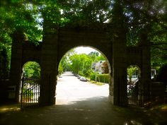 Old cemetery entrance in Raleigh, NC. Oakwood Cemetery, Old Cemeteries, Old Churches, Throughout The World, Brooklyn Bridge, Entrance, Death, Spaces, Pictures