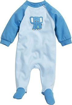 Playshoes Unisex Baby Schlafstrampler Schlafanzug Schlafoverall Elefant, Gr. 62, Blau (original 900)