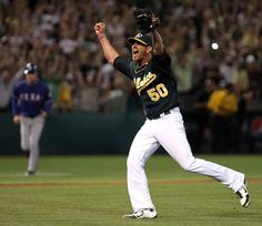 Oakland Athletics pitcher Grant Balfour celebrates their 4-3 win over the Texas Rangers Monday October 1, 2012 in Oakland California Photo: Lance Iversen, The Chronicle / SF