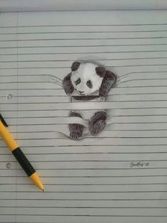 Animal Drawings Cute Animal Pencil Drawings – Fubiz Media - South-African illustrator Iantha Naicker presents us her cute animal illustrations. She uses the lines of her notebook to give a tridimensional aspect to her wo Pencil Drawings Of Animals, 3d Drawings, Amazing Drawings, Drawing Sketches, Drawing Ideas, Line Paper Drawings, Sketches Of Animals, Realistic Drawings Of Animals, Sketching
