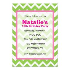 Lime Green and Pink Chevron Zigzag Invitations. Perfect for a birthday party, bridal shower, or any preppy occasion! www.gem-ann.com (Zazzle store).