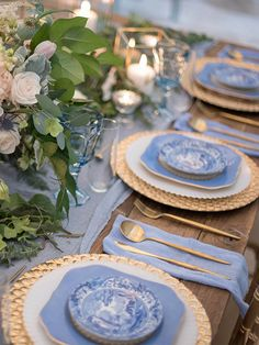 No dusty blue is not just a winter color, this lovely shade is perfect no matter the season! Blue And Blush Wedding, Gold Wedding Theme, Dusty Blue Weddings, Wedding Book, Wedding Table, Wedding Colors, Tiffany Wedding, Wedding Reception, Dresser La Table
