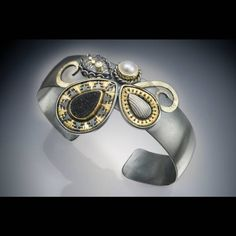 Sally Craig--bracelet: 22k, oxidized silver, black druzy quartz