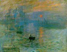 """Impression, soleil levant """"Monet representa una escena del puerto de Le Havre al amanecer, en un momento de luz en el que la neblina provocada por la alta humedad apenas permite que los rayos del sol atraviesen las nubes e iluminen la escena, quedando como reflejos anaranjados tanto en el mar como en el cielo."""""""