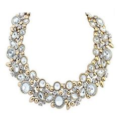 Leandra - Rhinestone Crystals & Gold Statement Chokers Necklace